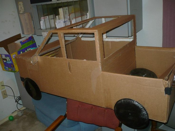 My daughter wanted to be a truck for Halloween so we used a cardboard box, paint, a lotta hot glue, some plastic cling wrap a pair of suspenders few other things and ta-da  we have a Chevy truck.
