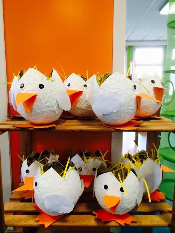 Cute paper mache chick Easter baskets :-)