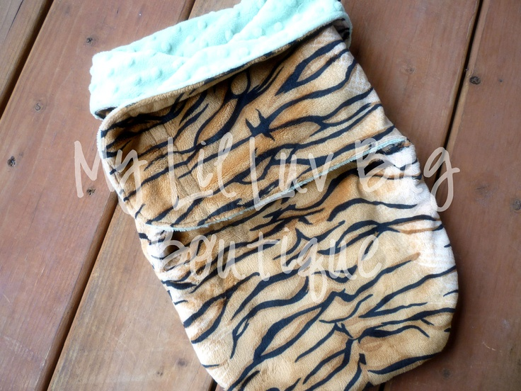 Minky swaddle blanket- sage green and tiger print- baby minky swaddle wrap READY TO SHIP. $38.99, via Etsy.