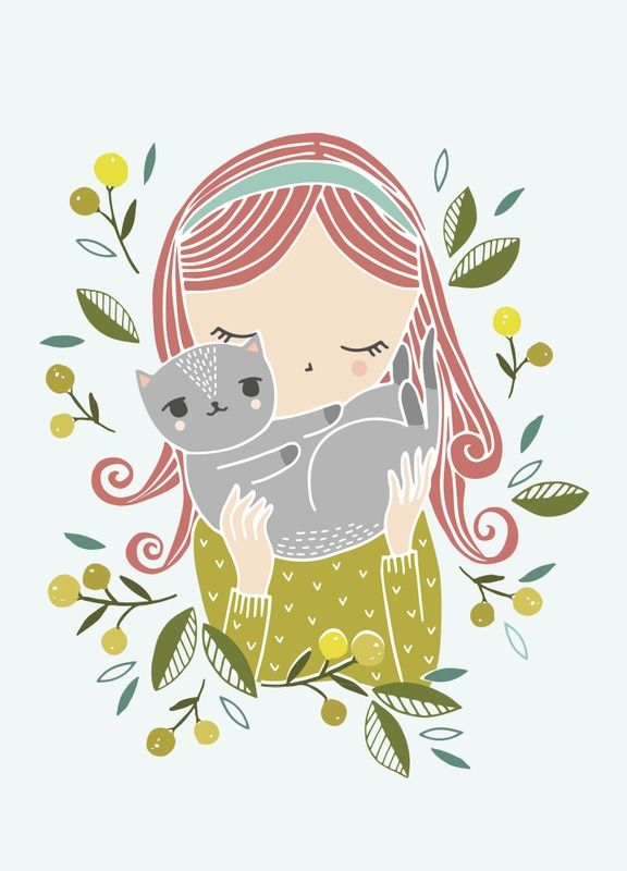 Flora Waycott 'Kaart Girl with Cat'