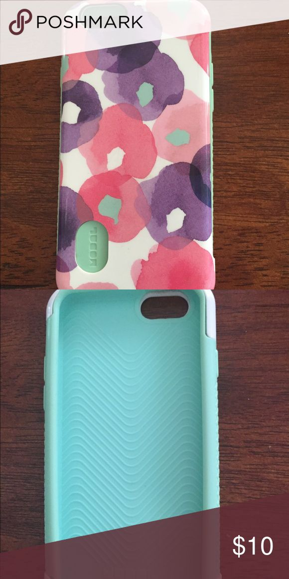iPhone 6 case like new!! Beautiful floral I phone six case .., silicone rubber on the inside and hard case on the outside made by modalpurple pink and green!! Modal Accessories Phone Cases