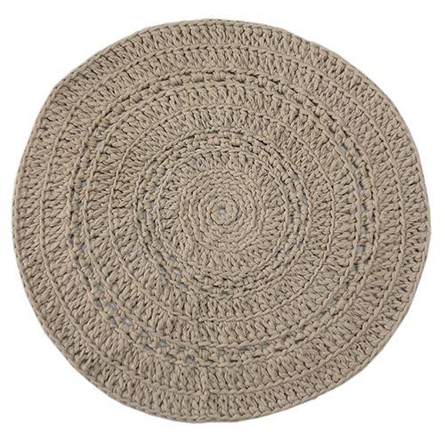Rond Vloerkleed Crochet - Zand 80 cm