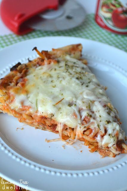 Spaghetti Pizza Pie - a great way to use up your left-over spaghetti! from www.lemontreedwelling.com