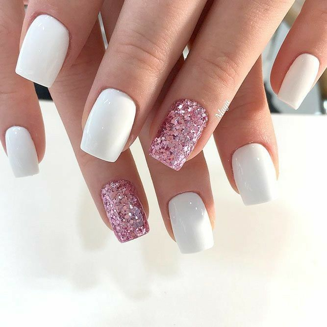 Square Nails. White Nails. Pink Glitter Nails. Acrylic Nails. Gel nails.