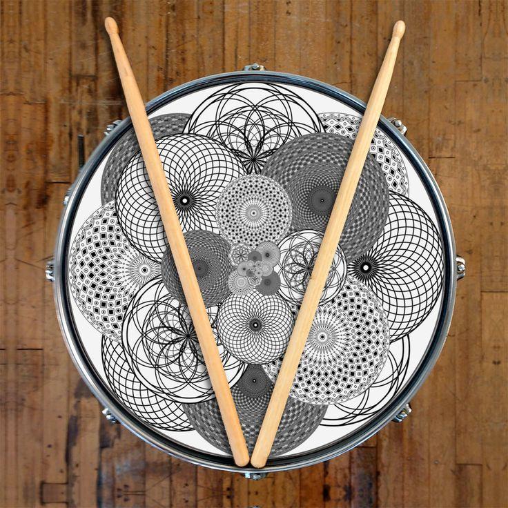 Geometric black and white drum SKIN design for customizing drum heads, drum kit.