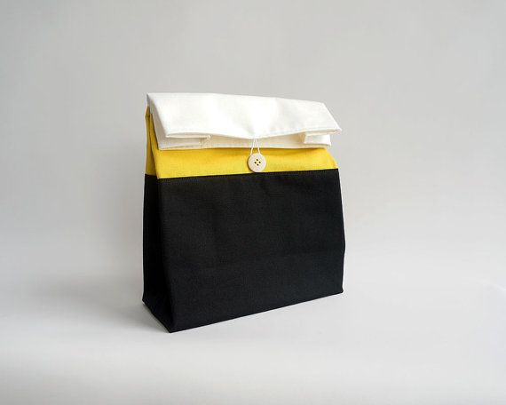 Adult lunch bag / Reusable lunch bag / Washable lunch bag / Yellow and black striped lunch bag / Sac a lunch