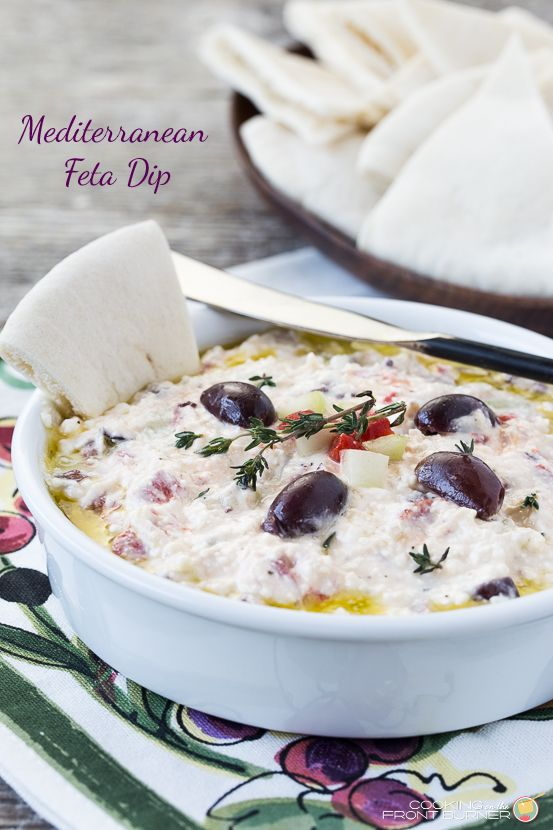 Enjoy this Mediterranean flavored dip with feta cheese, roasted red peppers, cucumber, garlic and thyme at your next gathering