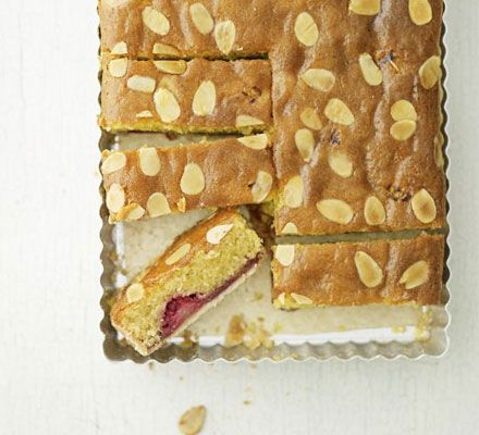 Raspberry Bakewell slice recipe - Recipes - BBC Good Food. Absolutely delicious - froze perfectly. Didn't add almond essence. Very light sponge.