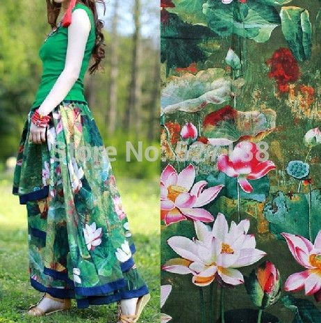 Chinese National Style Flower Print Cotton linen Fabric For women dress / patchwork farbic  Sell By meter Free Shipping