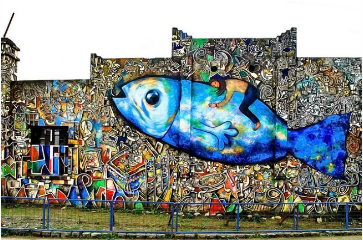 Mural en Dichato, Chile. Antes del 27F