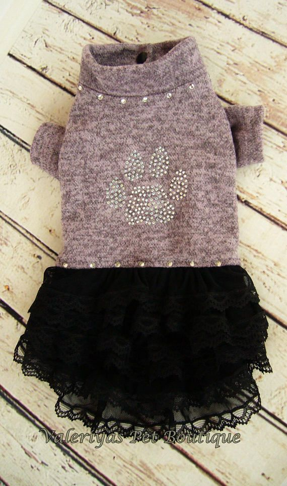 Warm jersey dog dress Paw sparkles Custom made dog dress