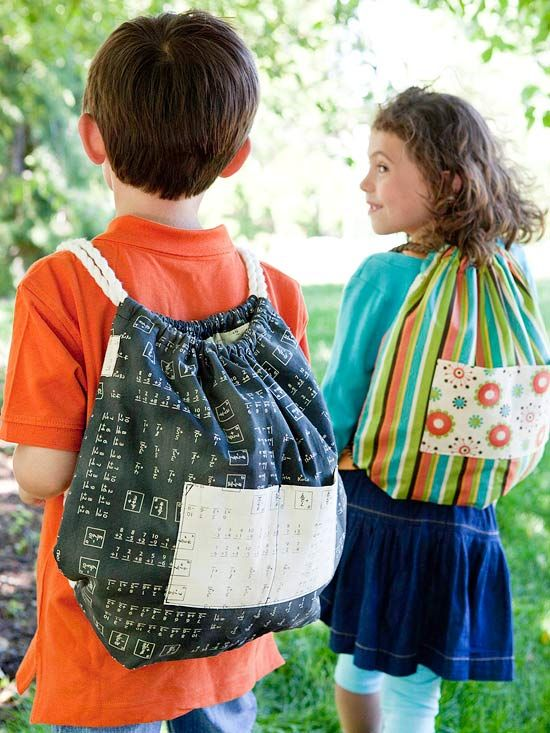 Handmade Backpack: Make a great back-to-school gift: Sew a handmade tote bag using fun fabrics and a bit of rope. Stitch a bunch of these small backpacks to complement a special outfit or to celebrate school colors. ~ Get step-by-step instructions