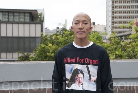 Steven wearing his shirt that says: 'Killed for Organs.'  Read 'The Most Important Message in the World That He Wants Everyone to Know' at http://www.visiontimes.com/2015/05/02/the-most-important-message-in-the-world-that-he-wants-everyone-to-know.html