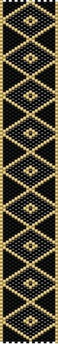 Black and Gold Even Count Peyote Stitch Digital Download Pattern