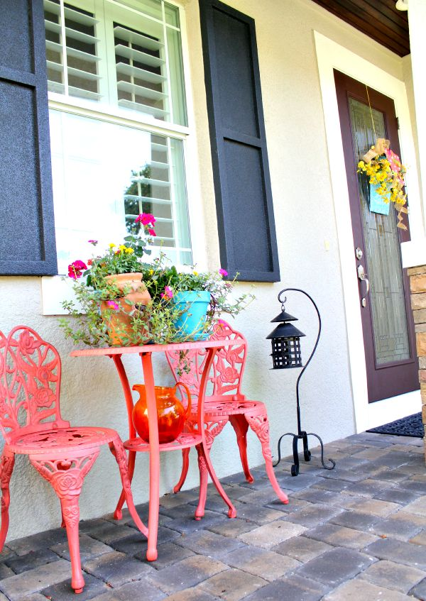 Coral and Blue Elements of Summer porch decor Plus Stucco Color (Light Blue) and Shutters (Dark Blue)