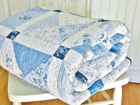 Twin Quilt Shabby Chic HANDMADE Patchwork Twin Bed Quilt
