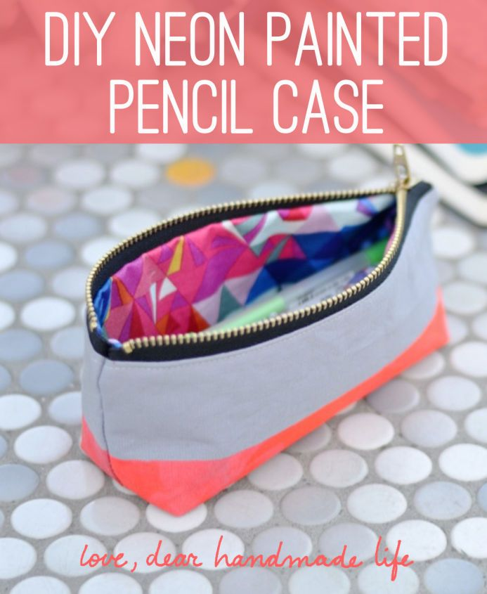 DIY Neon Painted Pencil Case from Dear Handmade Life