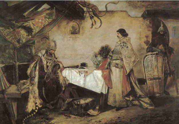 Mikoláš Aleš - Setkání Jiřího z Poděbrad s Mikolášem Korvínem (1877-78, Národní galerie Praha)
