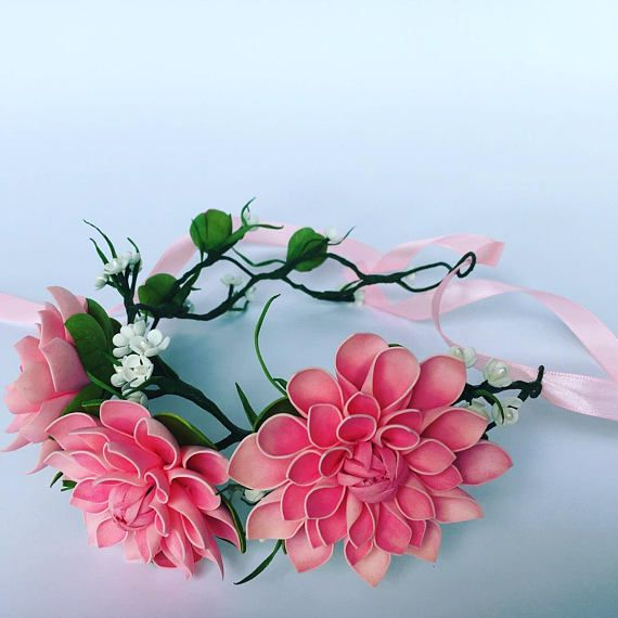 Dahlia flower Flower crown Bridal crown Pink flower Floral