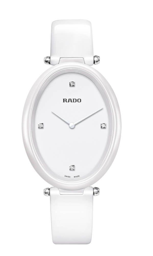 Nuevo reloj Rado Esenza Touch para mujer: Reloj Rado Esenza Touch en cerámica blanca, con correa de piel y diamantes en esfera (ref. 277_0092_3_171)