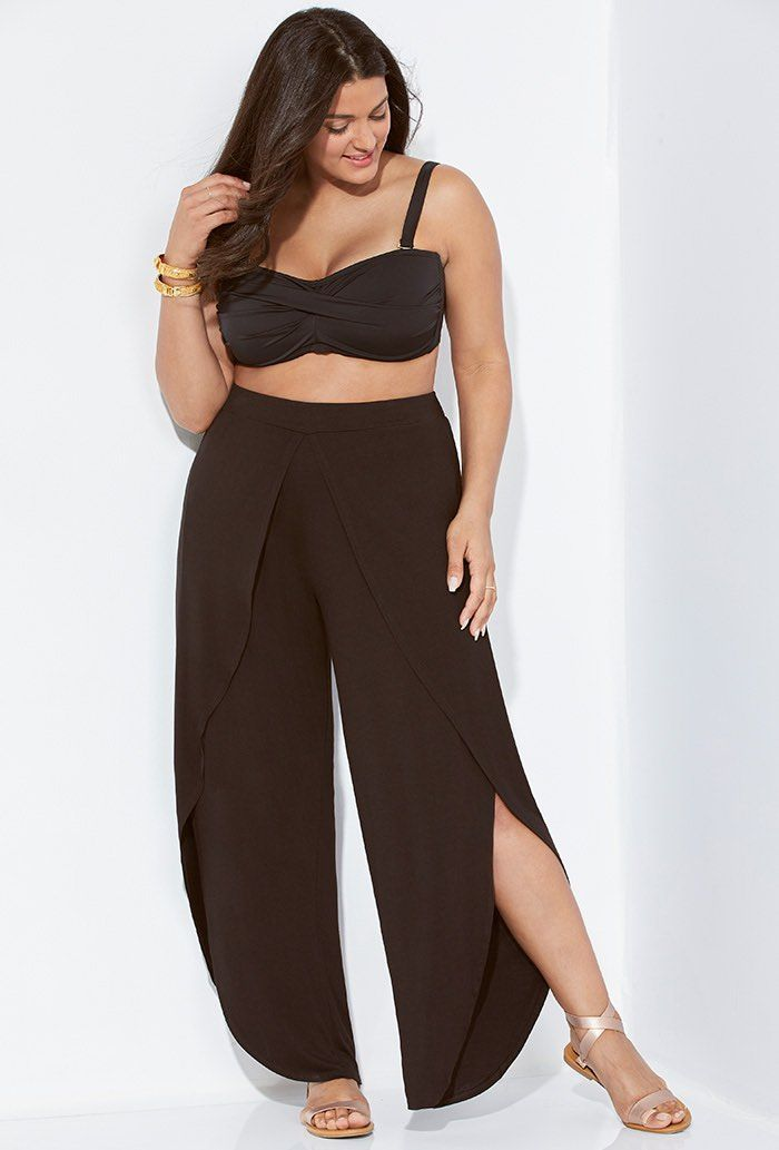 8b0b6ae43d1 Liza Black Tie Front Tulip Beach Pant in 2019 | 04 GOTH | Beach pants, Black  pants, Swimwear sale