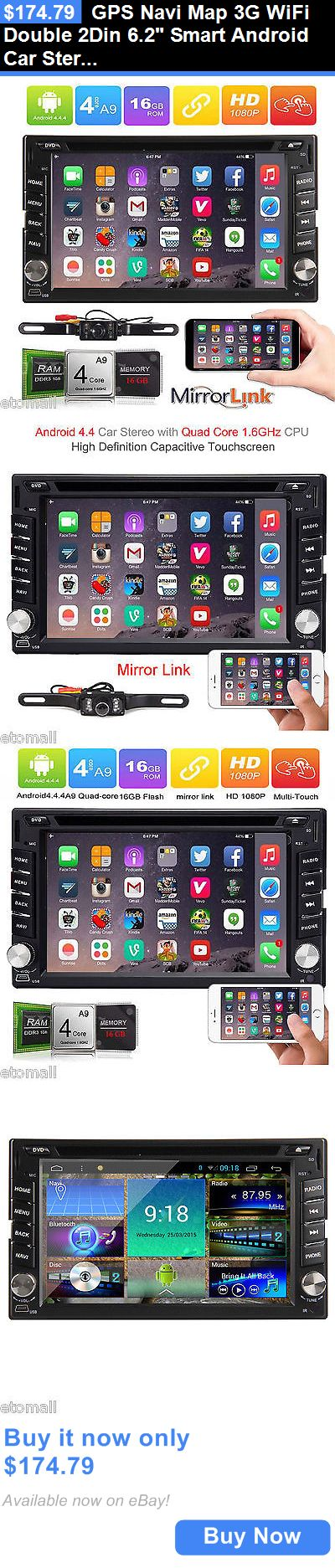 Vehicle Electronics And GPS: Gps Navi Map 3G Wifi Double 2Din 6.2 Smart Android Car Stereo Radio Bluetooth BUY IT NOW ONLY: $174.79