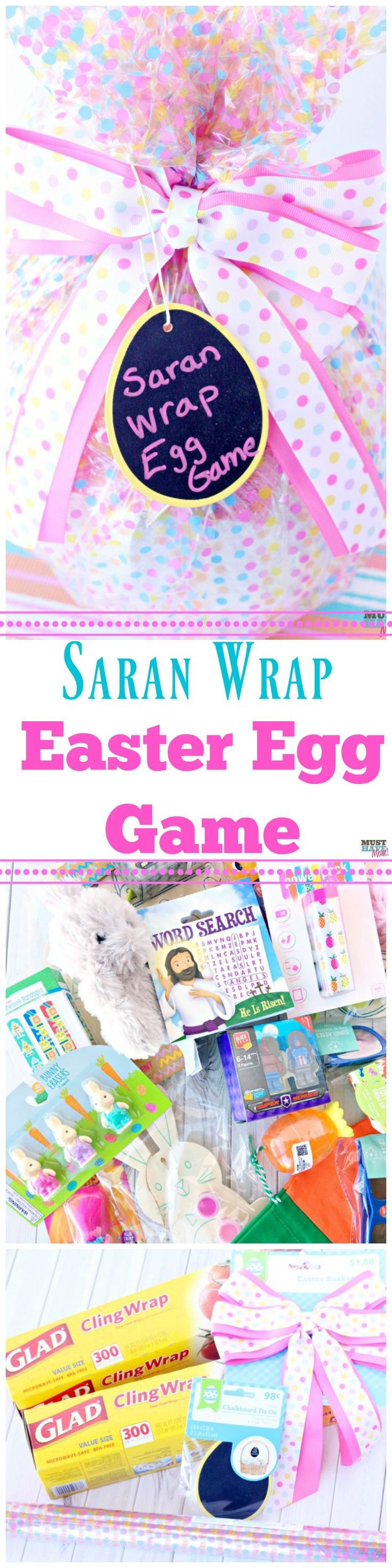 Easter egg saran wrap game idea! Start a new Easter tradition with this spin on the popular saran wrap ball game!