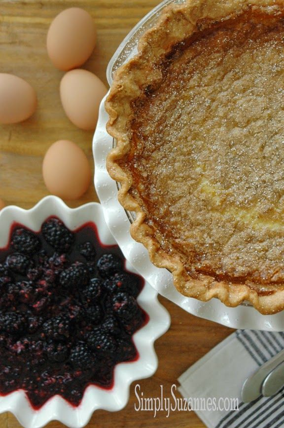 ... AT HOME: an old-fashioned buttermilk pie and fresh blackberries