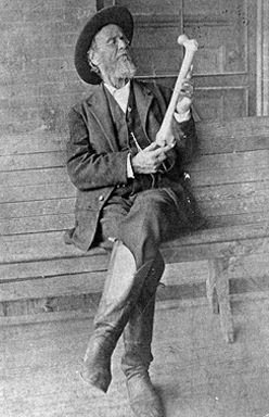 Dr. A.T Still, creator of Osteopathic medicine with femur bone.