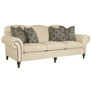 Whitfield Transitional Sofa with Rolled Arms and Nail Head Trim by Bernhardt at Miskelly Furniture