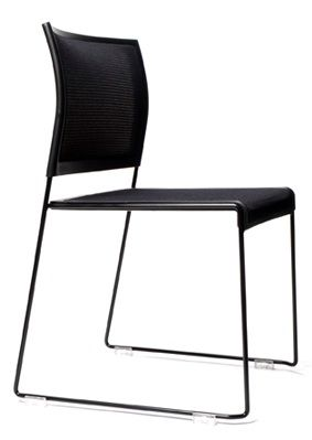 Eko by Konfurb. Stackable, Global green tag certified Eko chair in black with black base.