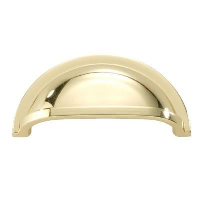 Hickory Hardware Williamsburg 3 in. Polished Brass Cup Pull-P3055-PB - The Home Depot