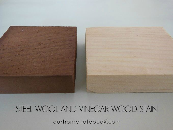 How to make wood stain from steel wool and vinegar. It's simple to do and it turns into a beautiful rusty brown stain colour.