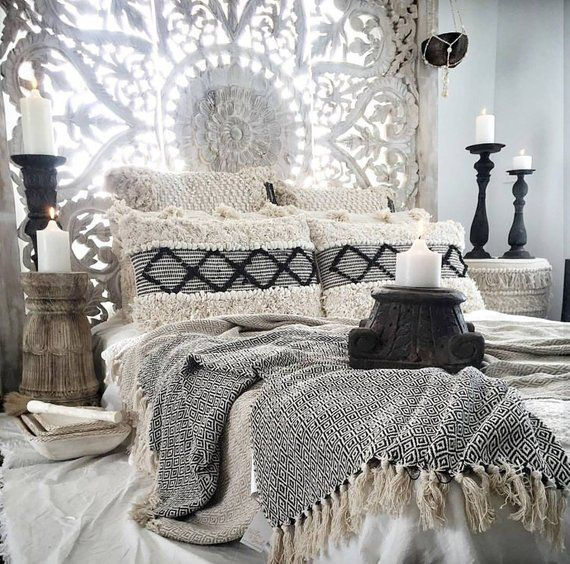 Bohemian Beach House White King Bed Headboard With Heart Etsy Home Decor Bedroom Bedroom Decor Moroccan Bedroom