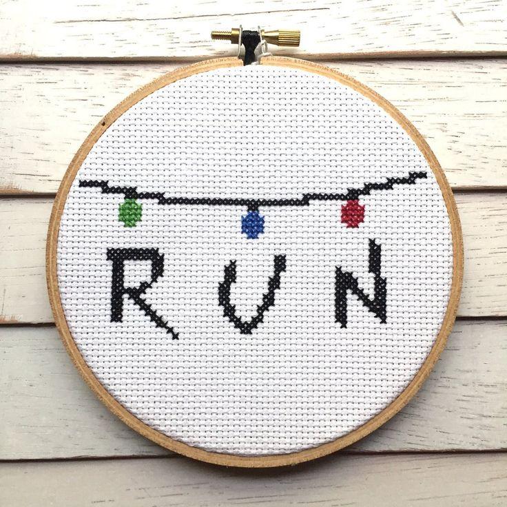 RUN String Lights Stranger Things Inspired Cross Stitch DIY KIT Beginner
