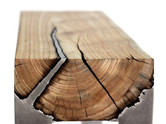 "Hilla Shamia's ""wood casting"" technique involves pouring molten aluminum directly onto dead tree trunks."