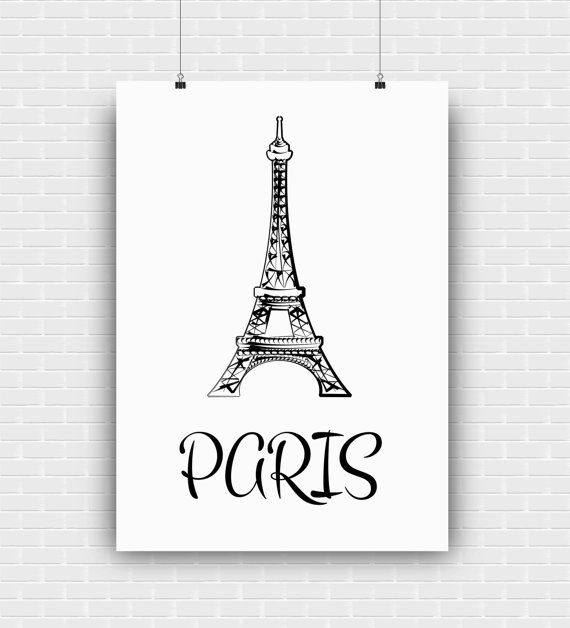 Black and white Paris printable art with Eiffel by GraphicCorner