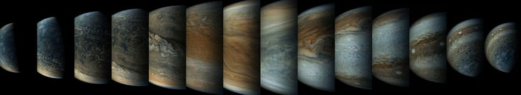 This sequence of enhanced-color images shows how quickly the viewing geometry changes for NASA's Juno spacecraft as it swoops by Jupiter. Image credit: NASA/SWRI/MSSS/Gerald Eichstadt/Sean Doran