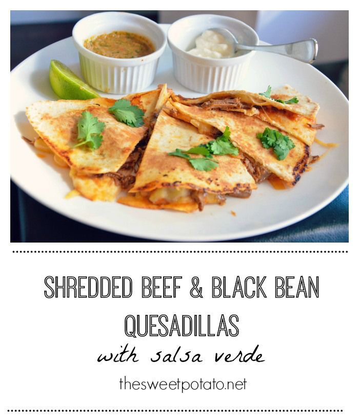Shredded beef and black bean quesadillas
