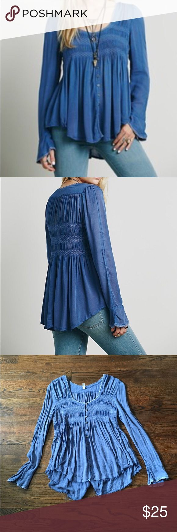 Free People Blue Bird Top No Trades. Gauzy swing buttondown top with smock detailing on the bust. Crochet trim, raw hem. Size small. In perfect condition. Free People Tops Tees - Long Sleeve