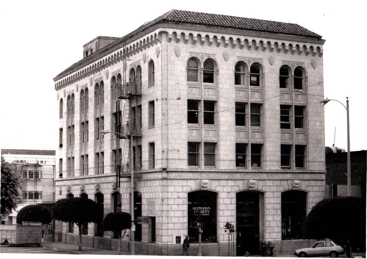 First National Bank Building, corner of California and Main Streets in Ventura, California.  Where Erle Stanley Gardner worked as a partner in the law firm of Orr, Gardner, Drapeau, and Sheridan.  Photo by Kate Bennett, 1988.