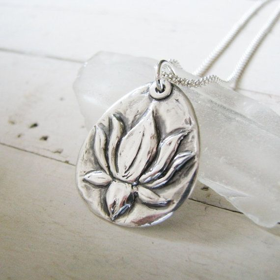 Lotus Pendant In Fine Silver, PMC Artisan Jewelry, Handmade, Exclusive Design by SilverWishes