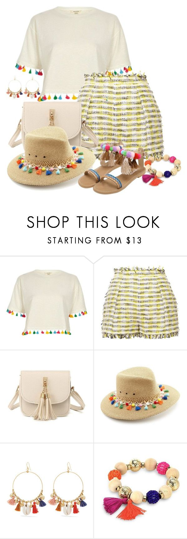 """""""Fringe/Tassel Fashion - Contest!!!"""" by sarahguo ❤ liked on Polyvore featuring River Island, MSGM, Eric Javits, Chan Luu and Robert Rose"""