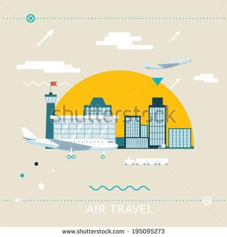 Travel Lifestyle Concept of Planning a Summer Vacation Tourism and Journey Symbol Airplane Airport City Modern Flat Design Icon Template Vector Illustration