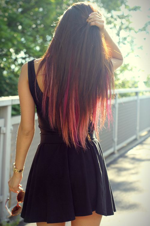 Colorful tips of Homemade dip dyed hair