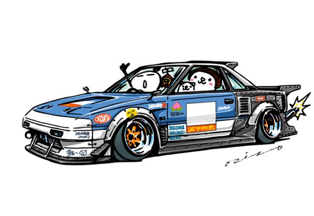 """crazy car art"" jdm japanese old school ""AW11 MR2"" original characters ""mame mame rock"" / © ozizo Official web shop ""STAY CRAZY (in Society6)"" Official web shop ""ozizo(in Redbubble)"" ""Crazy Car Art"" Line stickers ""Crazy car Art"" Telegram stickers"