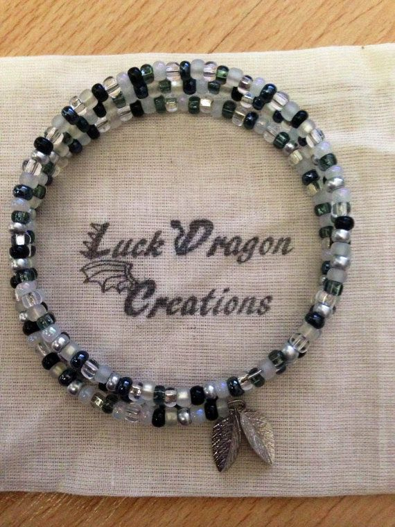 Black White and Silver Memory Wire Bracelet by LuckDragonCreations