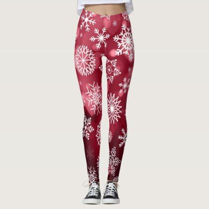Snowflakes on a Valentine Background | Leggings - valentines day gifts love couple diy personalize for her for him girlfriend boyfriend