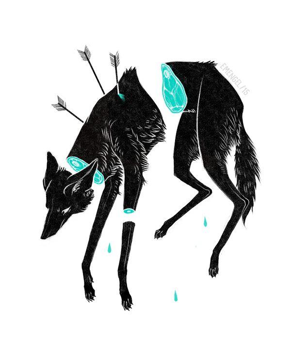 animal gore + wolves