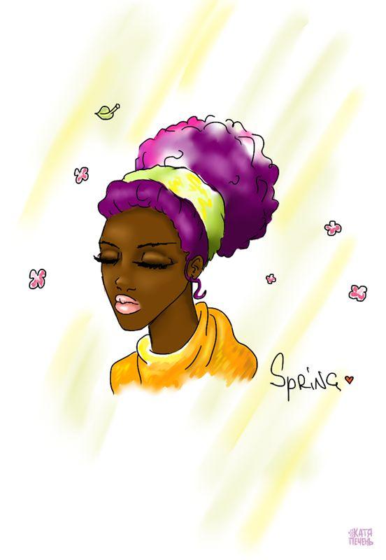сиреневые волосы, кудрявая девушка, зеленая повязка на волосы, весна, лепестки цветов